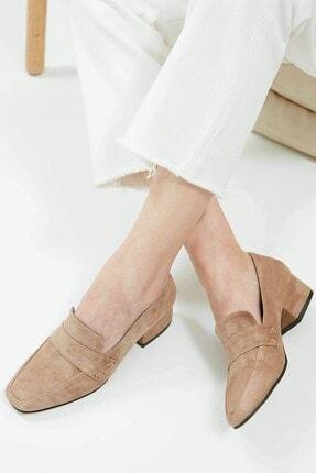 Mio Gusto Camilla Hakiki Süet Vizon Kısa Topuklu Ayakkabı 0