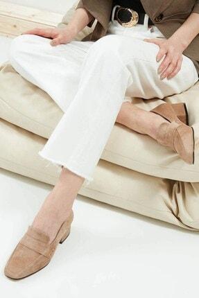 Mio Gusto Camilla Hakiki Süet Vizon Kısa Topuklu Ayakkabı 2
