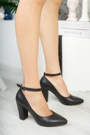 Muggo Siyah Kadın Klasik Topuklu Ayakkabı DPRGZHWY705 0