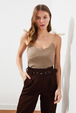 TRENDYOLMİLLA Vizon Tül Detaylı Triko Bluz TWOSS21BZ0120 1