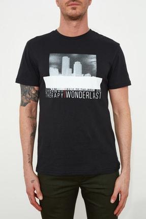 TRENDYOL MAN Siyah Erkek Baskılı Regular Fit T-Shirt TMNSS20TS1509 2