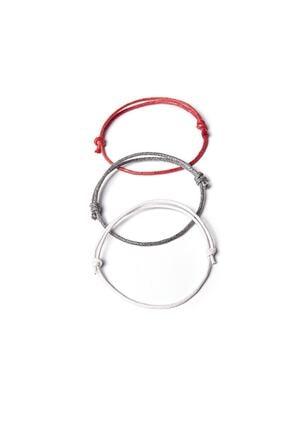 Chill & Feel 3lü Kalın Ayarlanabilir Ip Bileklik - Kırmızı, Gri, Beyaz 1