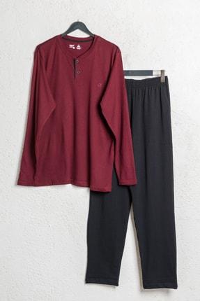 BSM Erkek Bordo Pamuklu Modal Düğmeli Mevsimlik Pijama Takımı 1