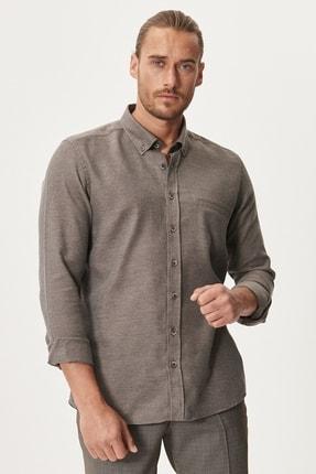 Altınyıldız Classics Erkek Kahverengi Tailored Slim Fit Dar Kesim Düğmeli Yaka Kışlık Gömlek 1