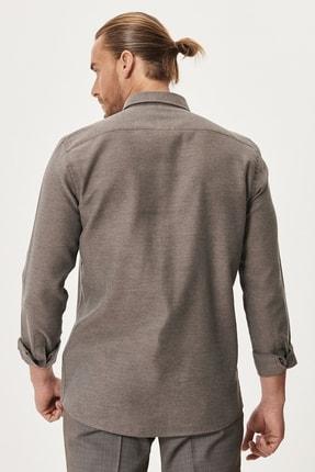 Altınyıldız Classics Erkek Kahverengi Tailored Slim Fit Dar Kesim Düğmeli Yaka Kışlık Gömlek 4