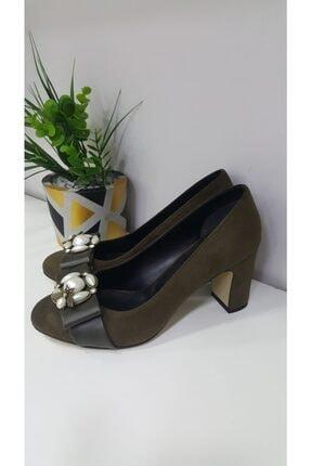Kadın Yeşil Süet Incili Ayakkabı İNCİ