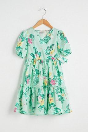 LC Waikiki Kız Çocuk Nane Yeşili Bask Lrl Elbise 0
