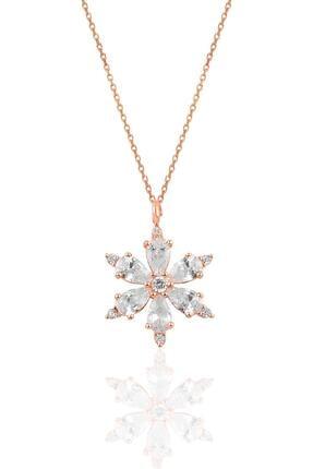 Söğütlü Silver Gümüş Rose Zirkon Taşlı Kar Tanesi Kolye 0
