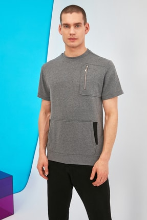 Picture of Antrasit Erkek Kısa Kollu Regular Fit Fermuar Detaylı Sweatshirt TMNSS21SW0295