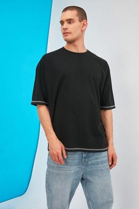 TRENDYOL MAN Siyah Erkek Oversize Bisiklet Yaka Kısa Kollu Nakışlı T-Shirt TMNSS21TS1888 0