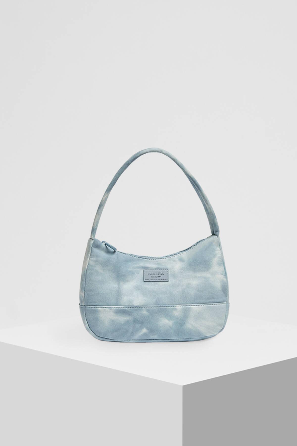 Pull & Bear Kadın Mavi Batik Desenli Kol Çantası 14155740 4