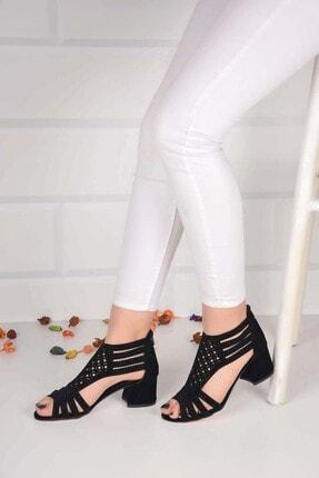 Weynes Kadın Siyah Taşlı Düz Taban Sandalet Ba20856 2