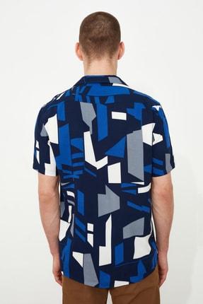 TRENDYOL MAN Siyah Erkek Regular Fit Apaş Yaka Geometrik Gömlek TMNSS21GO0488 3