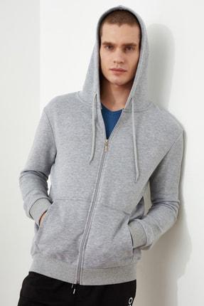 TRENDYOL MAN Gri Erkek Regular Fit Basic Kapüşonlu Fermuarlı Sweatshirt TMNAW20SW0262 1