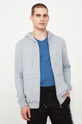 TRENDYOL MAN Gri Erkek Regular Fit Basic Kapüşonlu Fermuarlı Sweatshirt TMNAW20SW0262 3