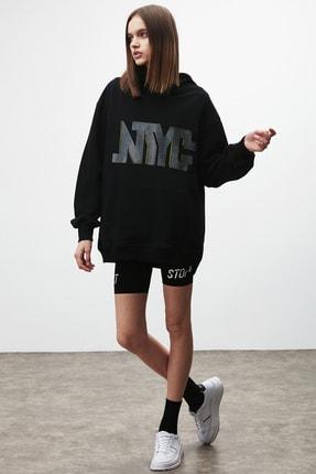 GRIMELANGE AMORA Kadın Siyah Önü ve Arkası Baskılı Kapüşonlu Sweatshirt 1