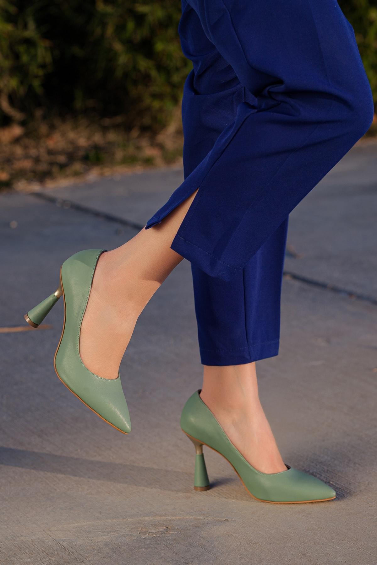 Kadın Yeşil Günlük Klasik Topuklu Ayakkabı D2053