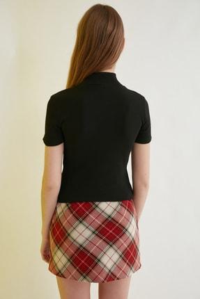 TRENDYOLMİLLA Siyah Crop Örme Bluz TWOSS21BZ0780 4