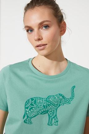 TRENDYOLMİLLA Mint Baskılı Basic Örme T-Shirt TWOSS21TS1559 2