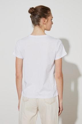 TRENDYOLMİLLA Kiremit-Beyaz 2'li Paket Basic Bisiklet Yaka Örme T-Shirt TWOSS21TS0403 4