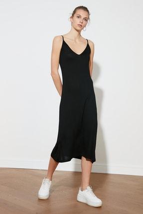 TRENDYOLMİLLA Siyah Askılı Örme Elbise TWOSS19VG0313 3