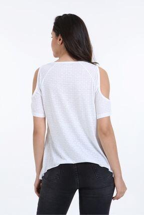 Trender Polo Trender 610 Kadın Devore Omuz Dekolte T-shirt Ekru 4