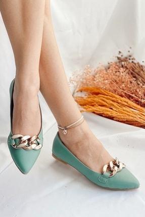 Nil Shoes Kadın Mint Yeşili Cilt Belle Zincir Detaylı Babet 2