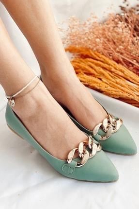 Nil Shoes Kadın Mint Yeşili Cilt Belle Zincir Detaylı Babet 3