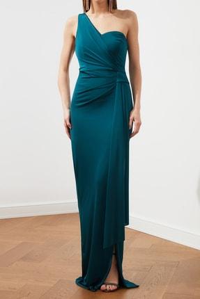TRENDYOLMİLLA Zümrüt Yeşili Bel Detaylı  Abiye & Mezuniyet Elbisesi TPRSS20AE0117 1