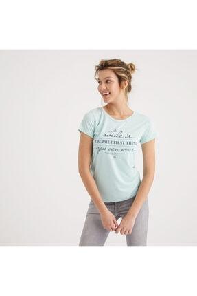 Mustang Kadın Baskılı T-shirt Su Yeşili 2