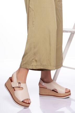 derithy Kadın Bej Dolgu Topuklu Ayakkabı 2