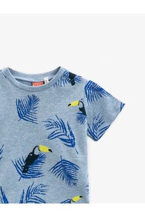 Koton Erkek Bebek Mavi Baskılı  Kısa Kollu Pamuklu Tisört 2