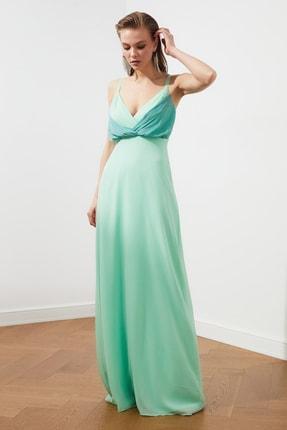 TRENDYOLMİLLA Mint Renk Bloklu Şifon Abiye & Mezuniyet Elbisesi TPRSS20AE0083 2