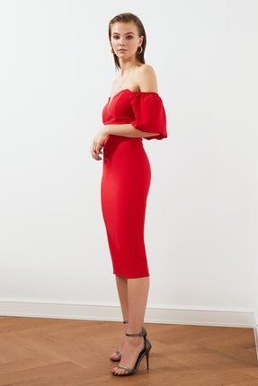 TRENDYOLMİLLA Kırmızı Puf Kollu Elbise TPRSS20EL1436 1