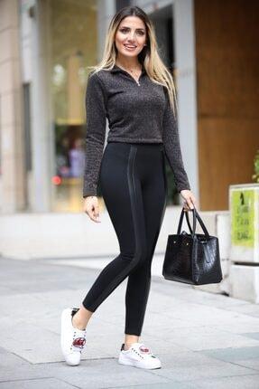 Grenj Fashion Siyah Önü Deri Şeritli Yüksek Bel Toparlayıcı Kışlık Tayt 1