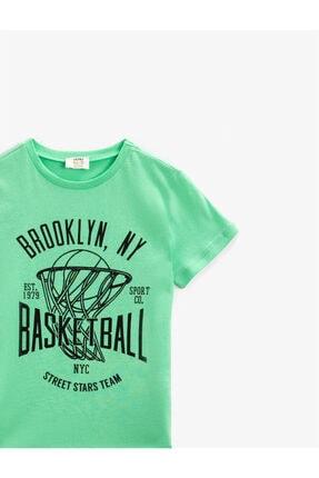Koton Erkek Çocuk Yeşil Yazılı Bisiklet Yaka Kısa Kollu Pamuklu T-shirt 2