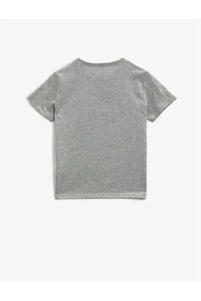 Koton Erkek Çocuk Gri Baskılı Bisiklet Yaka Kısa Kollu Pamuklu T-shirt 1