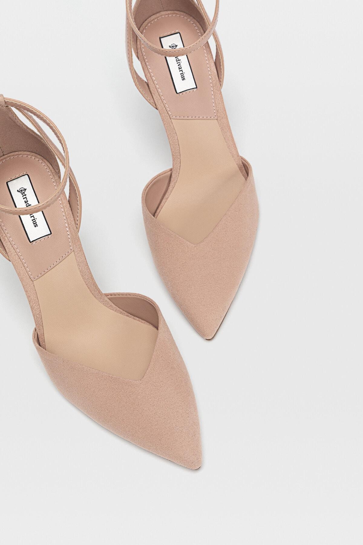 Stradivarius Kadın Pudra Bilekten Bantlı Yüksek Topuklu Ayakkabı 19153770 2