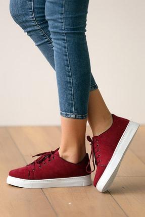 Pembe Potin Kadın Bordosüet Ayakkabı 1