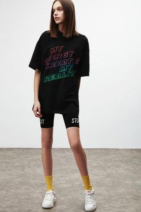 GRIMELANGE PLEASURE Kadın Siyah Baskılı Oversize T-shirt 1