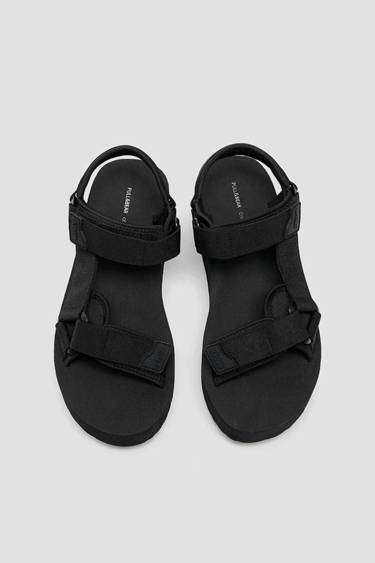 Pull & Bear Kadın  Siyah Tırtıklı Tabanlı Platform Sandalet 11703740 3
