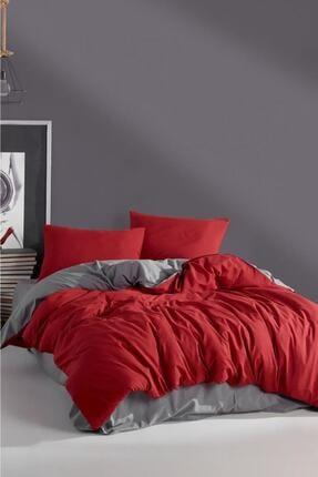 LadyModa Red&grey Çift Kişilik %100 Pamuk Nevresim Takımı 1