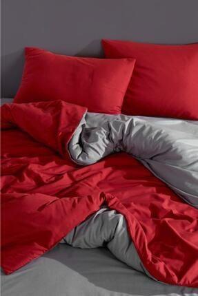 LadyModa Red&grey Çift Kişilik %100 Pamuk Nevresim Takımı 3