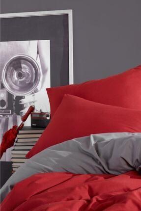 LadyModa Red&grey Çift Kişilik %100 Pamuk Nevresim Takımı 4