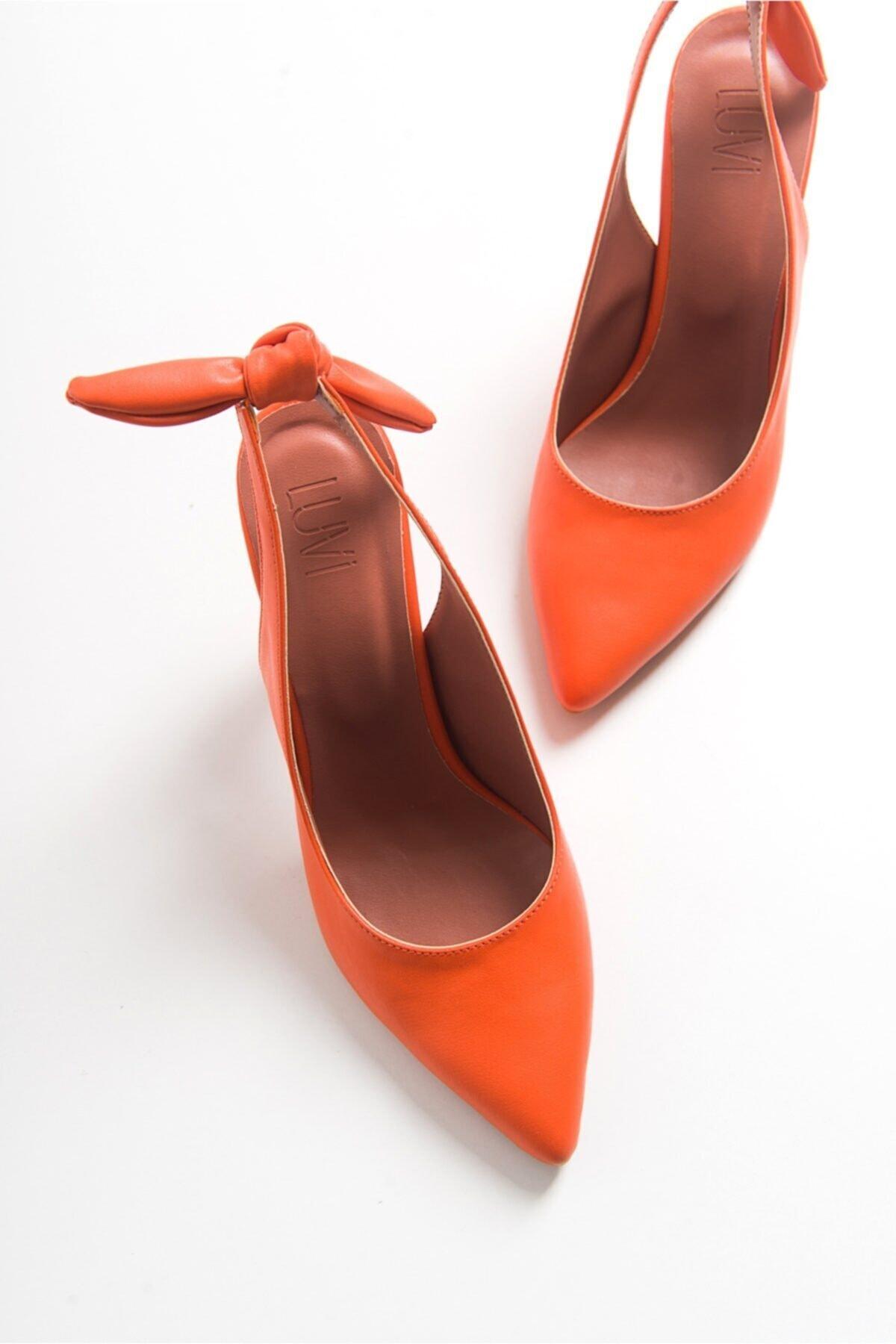 Kadın Turuncu Cılt Topuklu Sandalet