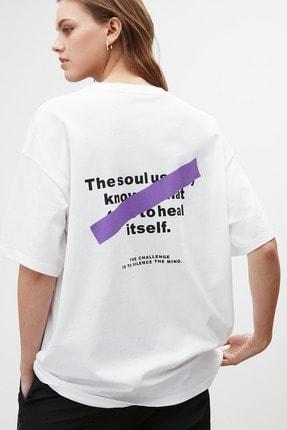 GRIMELANGE SOUL Kadın Beyaz Baskılı Oversize T-shirt 1