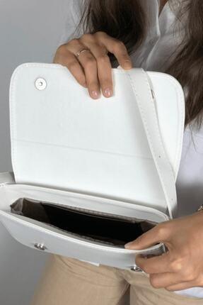 LinaConcept Kadın Beyaz Kapaklı Baget Çanta 4