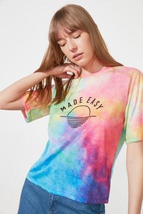 TRENDYOLMİLLA Çok Renkli Loose Örme T-Shirt TWOSS21TS1759 0