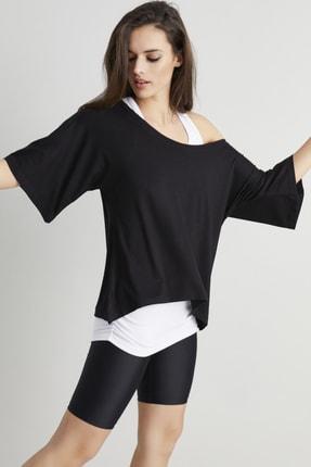 Cool & Sexy Kadın Siyah-Beyaz İkili Salaş T-shirt BK1101 1