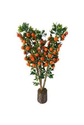 Hediye Vitrini Doğal Bambu Yapay Çiçek 1.kalite Yapay Mandalina Ağacı Odun Saksılı 75 Cm 0